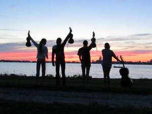 Fiddlers at sunset
